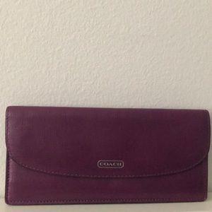 Coach Vintage Slim Magenta Purple Leather Wallet